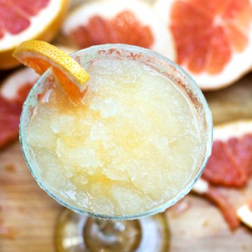 Frozen Grapefruit Margaritas with Salt Sugar Lime Rims