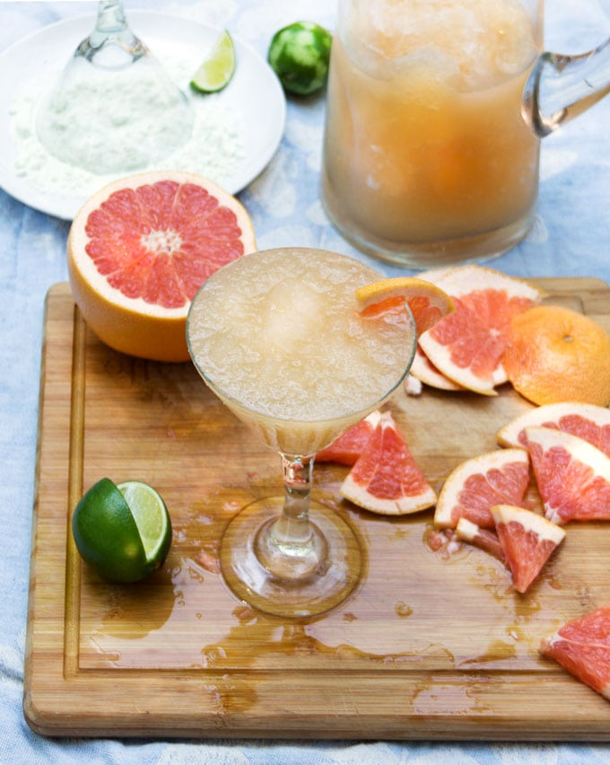 Frozen Grapefruit Margaritas with Salt Sugar Lime Rims