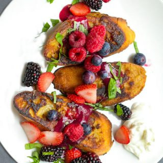 Pain Perdu (French Toast) with berries and berry sauce