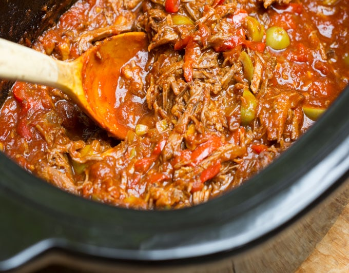 slow cooker Cuban ropa vieja recipe: Cuba's famously delicious shredded beef stew with peppers