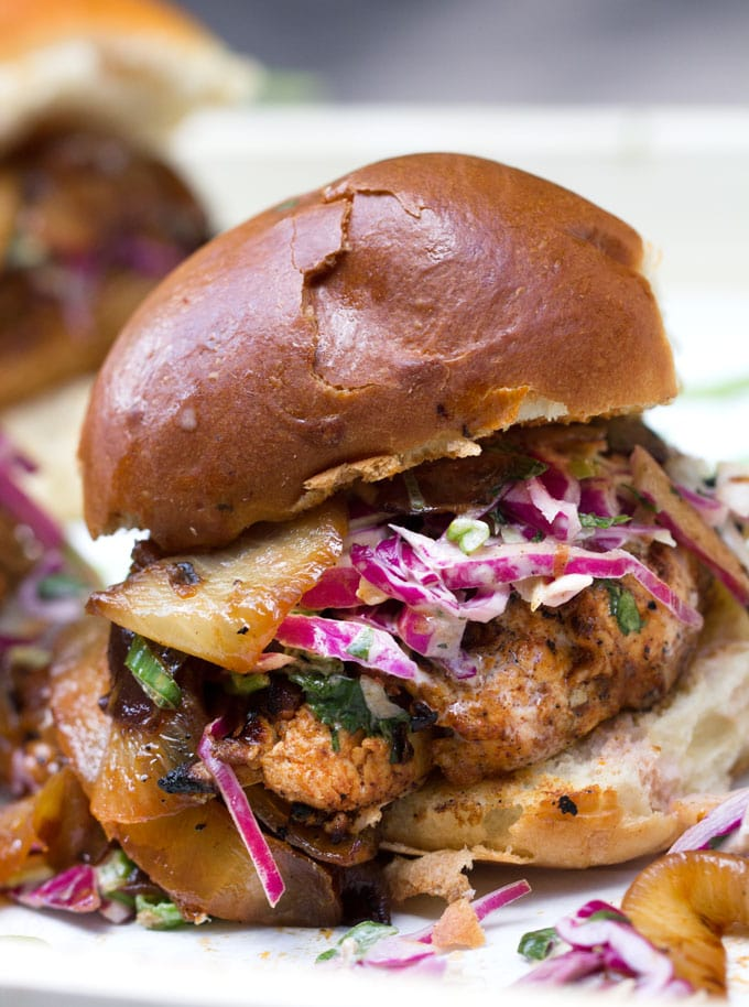 Grilled Chicken Sliders with BBQ Caramelized Onions and Chipotle Coleslaw: The best grilled chicken sandwich ever!