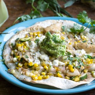 Mexican Chicken Tostada with Corn Zucchini and Avocado-Lime Salsa