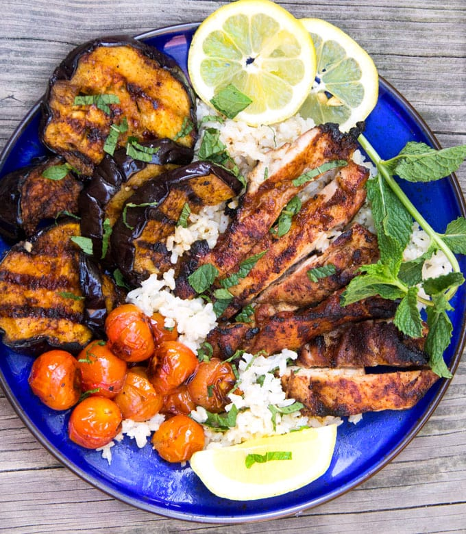 Grilled Harissa Chicken and Eggplant Rice Bowl