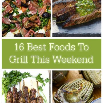 collage photo of 4 grilling recipes: artichokes, kofta kebabs, skirt steak and figs with prosciutto