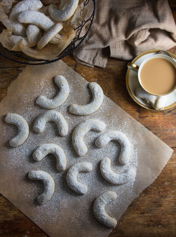 Buttery, nutty, vanilla-scented, sugar-dusted, melt-in-your-mouth, crescent almond cookies, also called Vanillekipferl. The best cookies! Only 5 ingredients. Recipe by cookie expert Dorie Greenspan.
