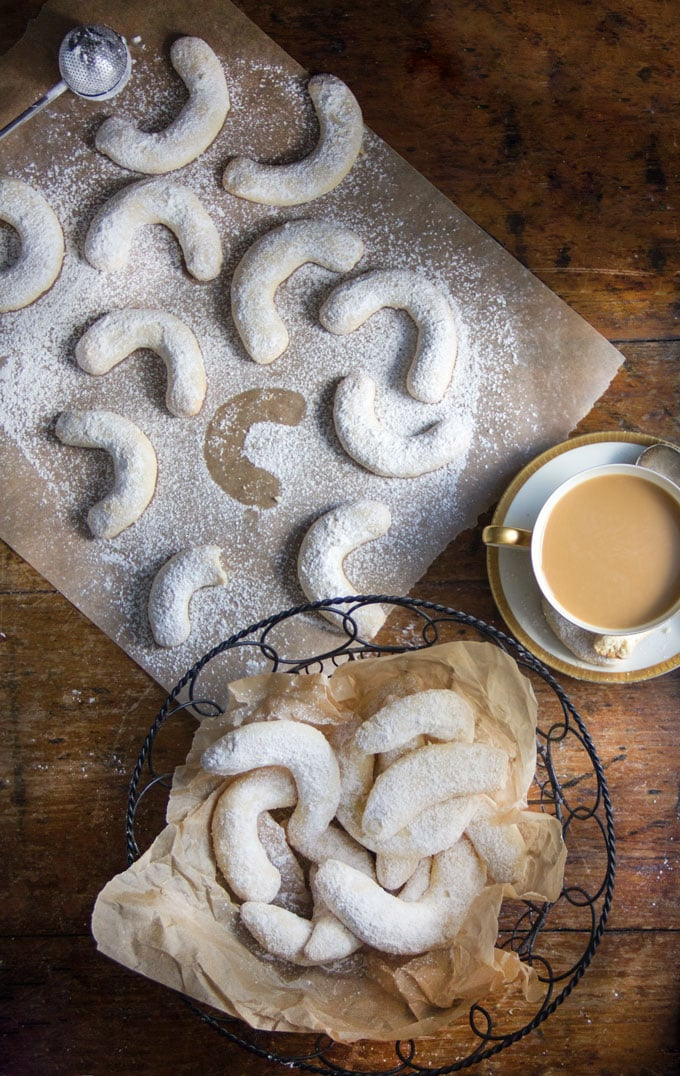 These Crescent Almond Cookies are nutty, vanilla-scented, sugar-dusted and delicious! Traditional for Christmas in Austria and Germany. Freezable and delicious!