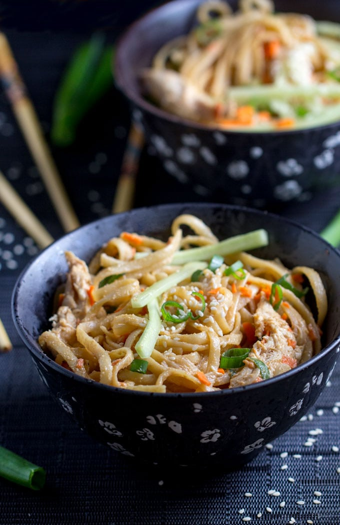 Spicy sesame peanut noodles with chicken easy asian comfort food heres an easy recipe for spicy sesame peanut noodles with chicken and vegetables it takes forumfinder Choice Image
