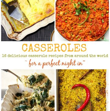 a grid with four casseroles: South African boboti, german spaetzle, Indian Biryani and Jollof rice from Ghana