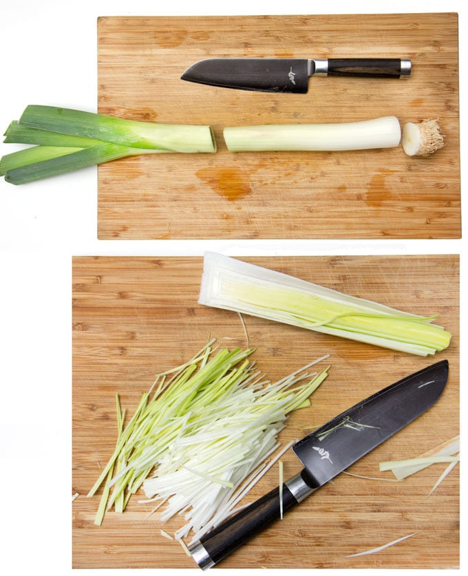 how to cut leeks and julienne them