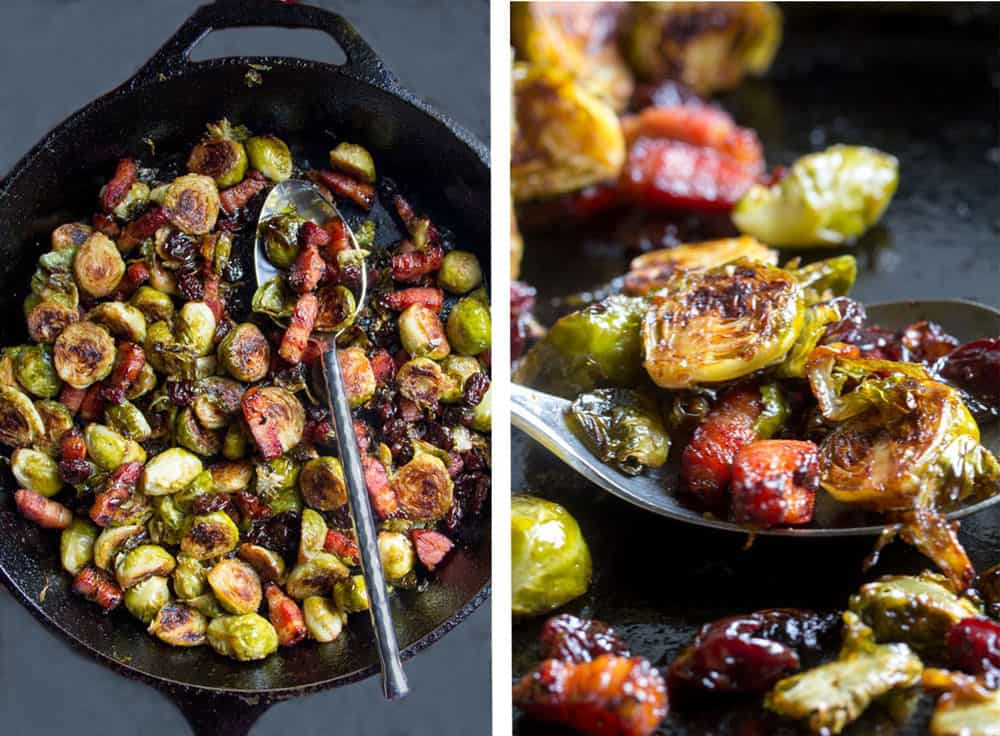 how to make roasted brussels sprouts with bacon and dried cherries