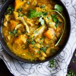Here's an easy recipe for Curried Butternut Squash, Lentil and Chicken Stew. It's a warm and comforting one-pot dinner that's dairy-free, gluten-free, low-fat and delicious!