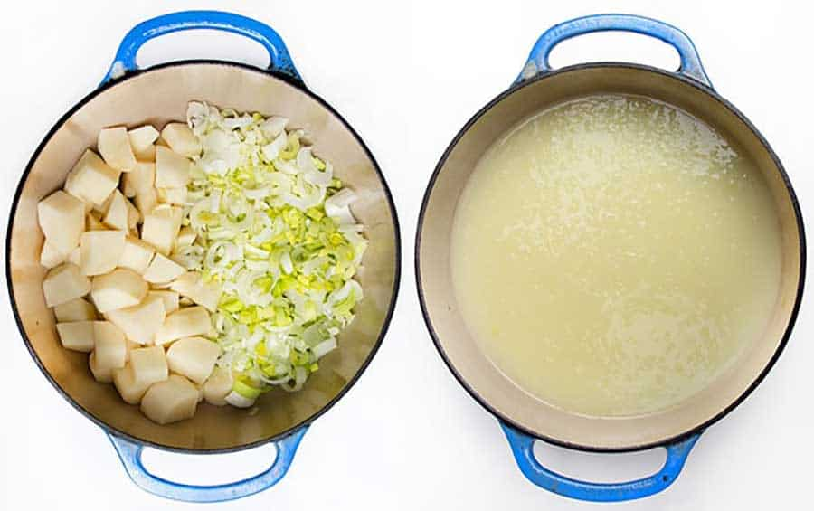 two shots of a blue Dutch oven shown from above, one is filled with cubed potatoes on the left and chopped leeks on the right. the other show pureed potato leek soup
