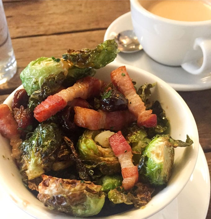 Roasted Brussels Sprouts with Bacon and Sour Cherries from Hoxton Holborn, London