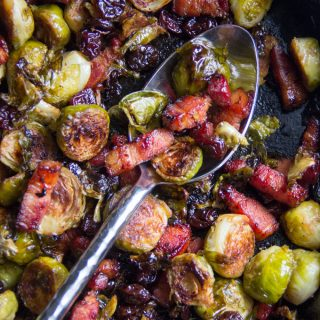 Roasted Brussels Sprouts with Bacon and Dried Cherries and a Great London Hotel