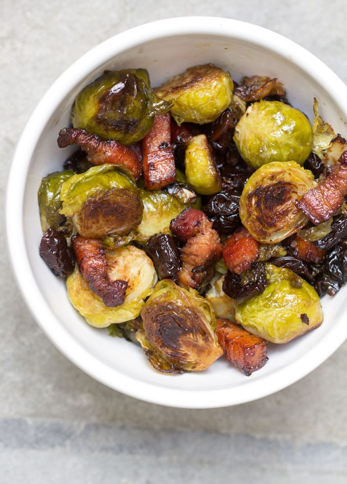 Roasted Brussels Sprouts with Bacon and Dried Cherries