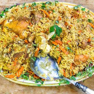Chicken Plov - a Usbeki casserole of chicken, rice, carrots, onions, herbs and spices.