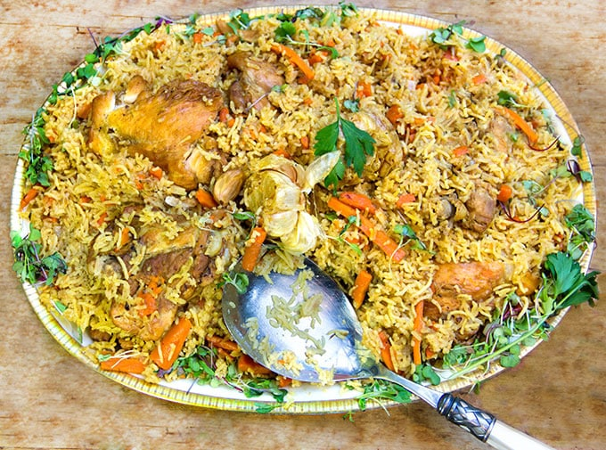 Plov: a delicious chicken and rice casserole with herbs and carrots from Uzbekistan