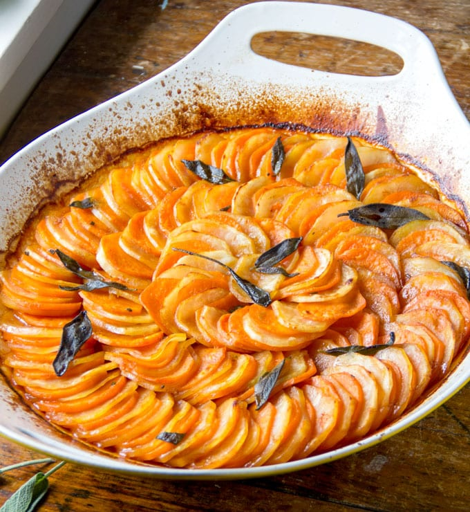 This two-potato tian is a delicious and beautiful side dish for your holiday table