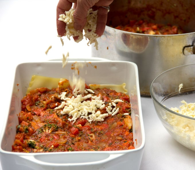A hand sprinkling mozzarella cheese onto a layer of sauce, assembling a lasagna in a white casserole dish