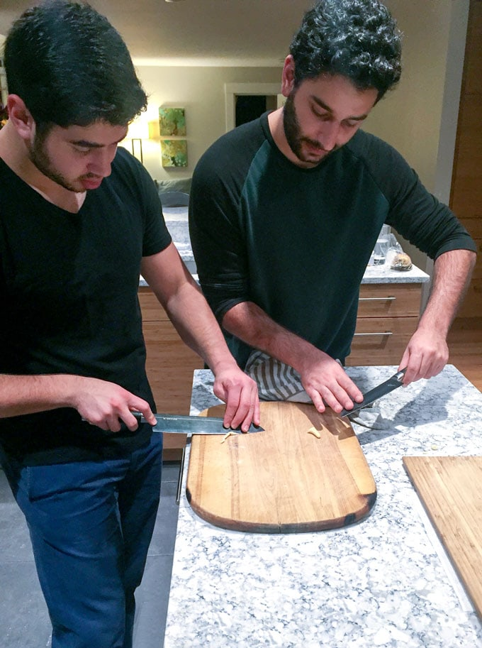 Alex and Brian making Trofie pasta