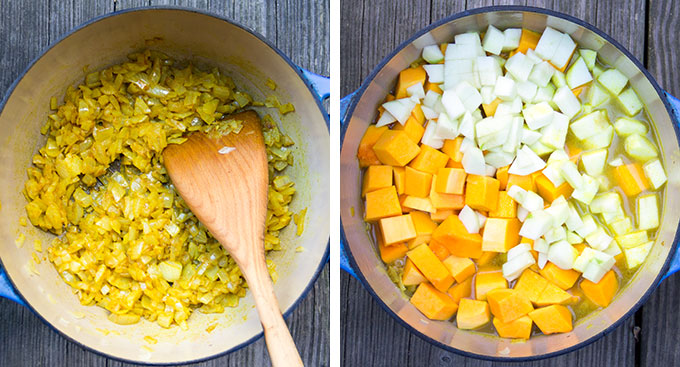 two images side by side. On the left an overhead view of dutch oven with sautéed yellow onions with curry powder. On the right, a dutch oven with broth, cubed butternut squash and cubed apples