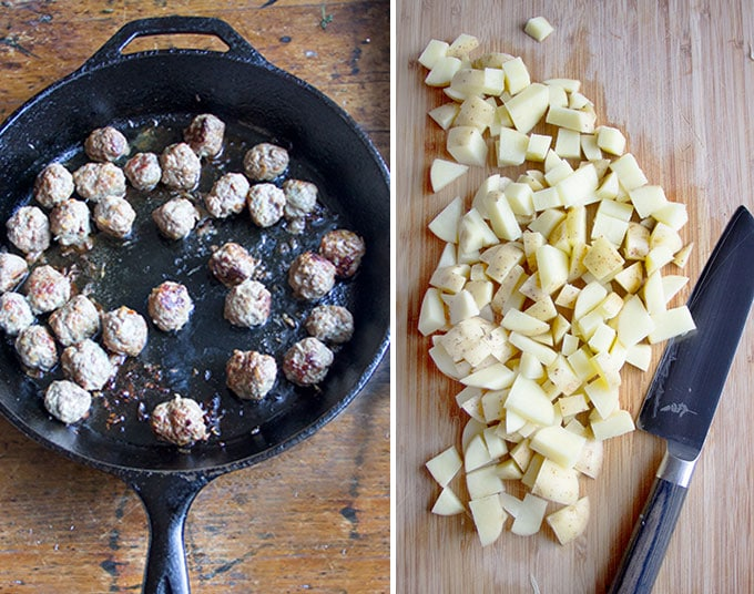one image of a cast iron skillet with meatballs and one image of diced potatoes on a cutting board with a knife