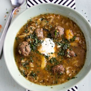 Persian Meatball Soup with Apricots, Brown Rice, and Yogurt