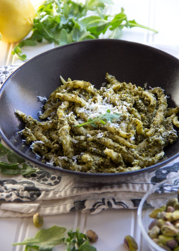 Trofie pasta with arugula pesto