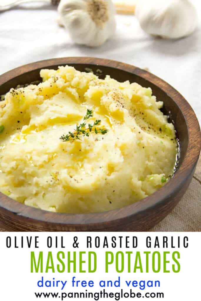 pinterest pin: roasted garlic olive oil mashed potatoes