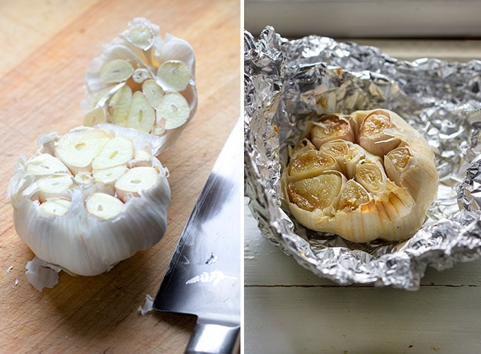 A head of garlic with the tip cut off, shown before and after roasting
