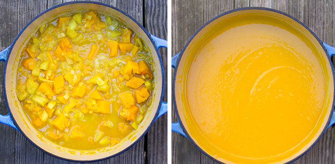 two images side by side. On the left an overhead view of a dutch oven with chunky butternut squash soup. On the right the soup is pureed.