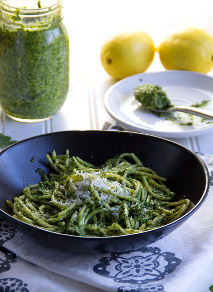 This arugula pesto is packed with flavor: peppery arugula, garlic, sweet buttery pistachios, bright notes of lemon, and rich nutty parmesan. Plus, you can make it in just ten minutes!