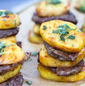 Here's an elegant way to serve meat and potatoes: Steak and Potato Stacks. Salt and pepper-crusted beef tenderloin layered with slices of spicy roasted potatoes. These stacks make a great party appetizer. They look irresistible and they taste as good as they look!