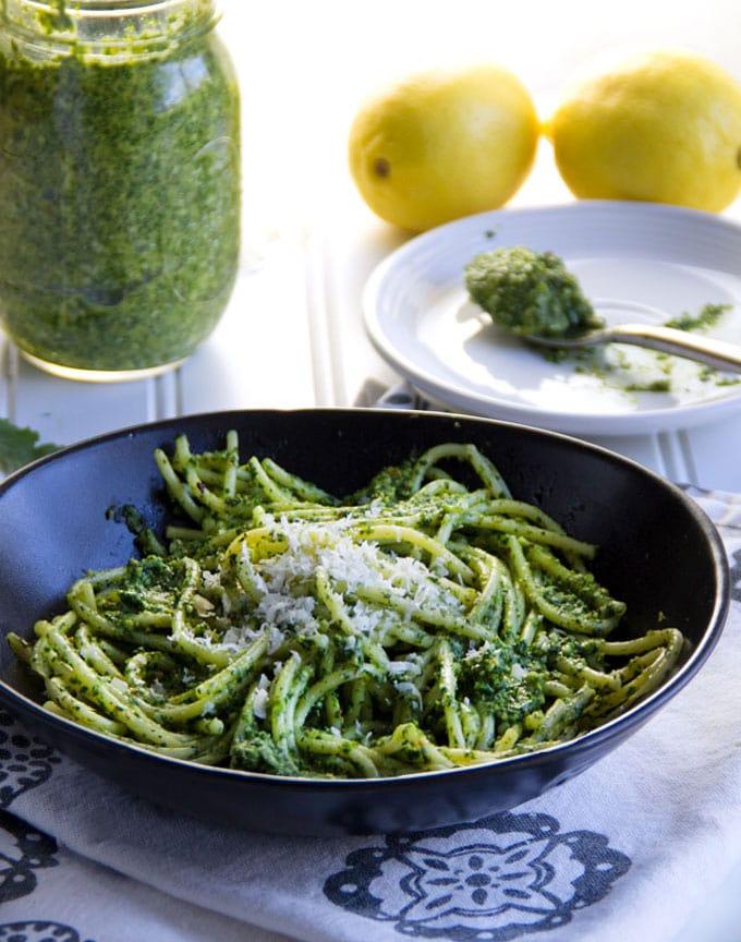 Pasta with Arugula Pesto and parmesan cheese