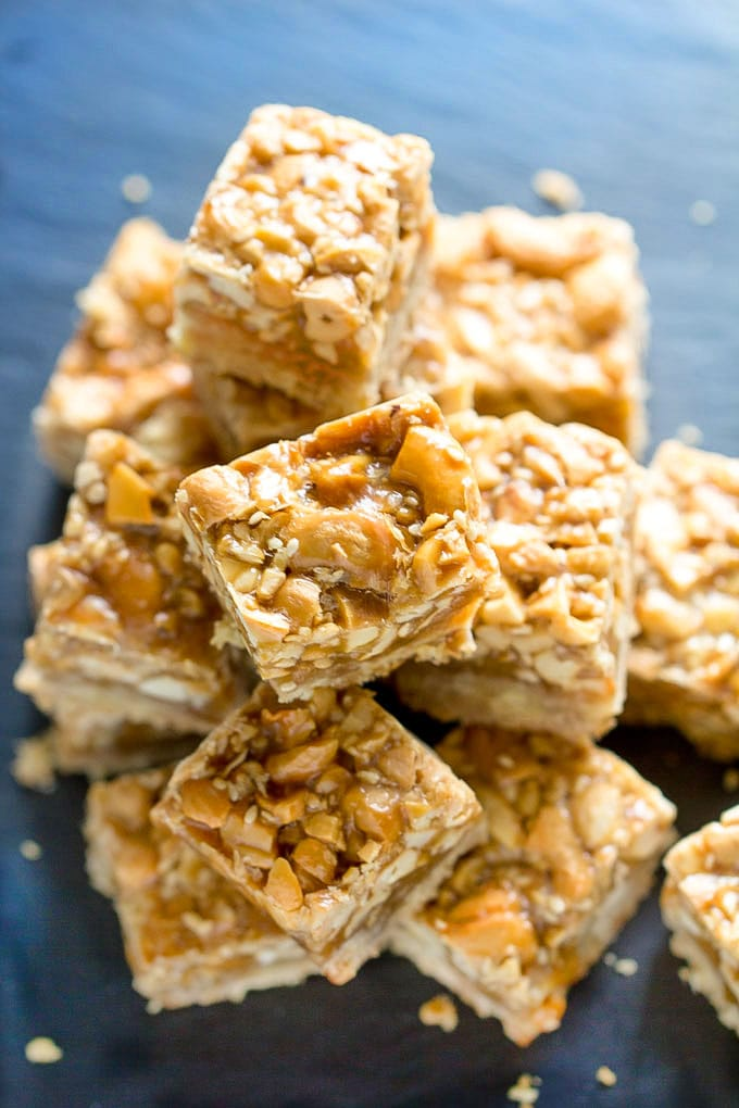 Sesame Cashew bars with caramel and shortbread.