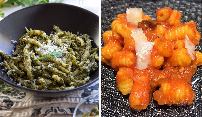 trofie pesto and gnoccheti sardi