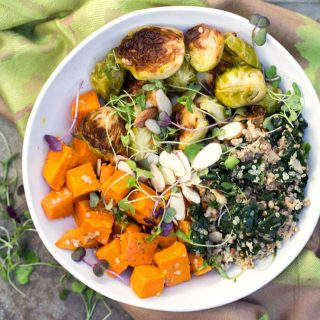 Recipe for Sweet Potato Brussels Sprout Buddha Bowl by Panning The Globe