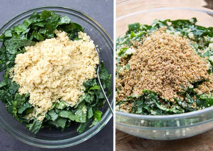 two photos showing the steps of the buddha bowl recipe. the first bowl has chopped raw kale with hot cooked quinoa on top of it, the next bowl has a pile of pecan parmesan on top of the kale and quinoa