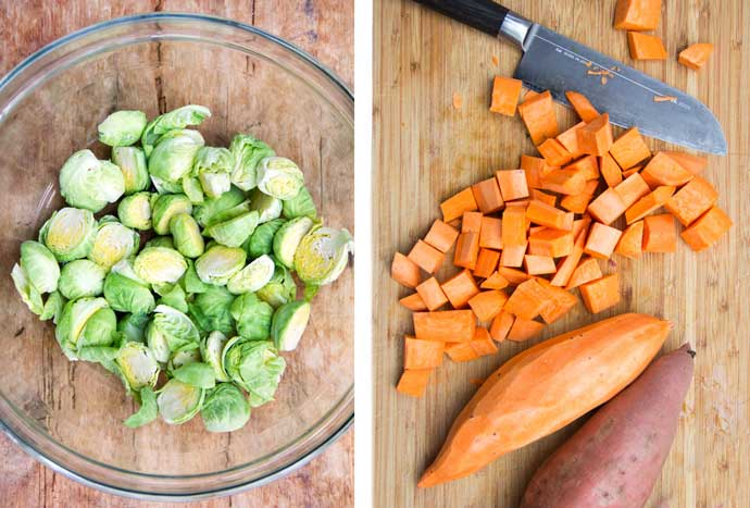 two photos - one has sliced brussels sprouts in a glass bowl, the other has two sweet potatoes on a cutting board, one is peeled, and there's a pile of cubed sweet potatoes next to a knife.
