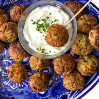 Savory Potato Aebleskivers with Creamy Lemon Dipping Sauce