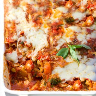 Here's a delicious vegetarian version of classic Italian lasagna: Roasted Vegetable Lasagna. You won't miss the meat in this scrumptious casserole, packed with roasted carrots, bell peppers, onions and broccoli, and layered with thick rich tomato sauce and three cheeses.