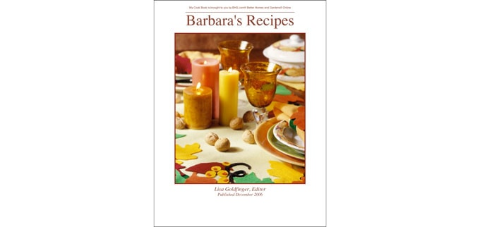 "cover of a cookbooks called ""Barbara's Recipes"""