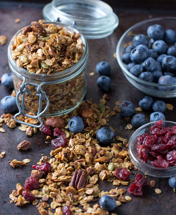 I'm always in search of the tastiest and most nutritious granola. This granola is tops in both categories. It's packed with heart-healthy grains, nuts and seeds. I add pure maple syrup for just a touch of sweetness and unrefined coconut oil to get a golden crispy crunchy texture when baked.