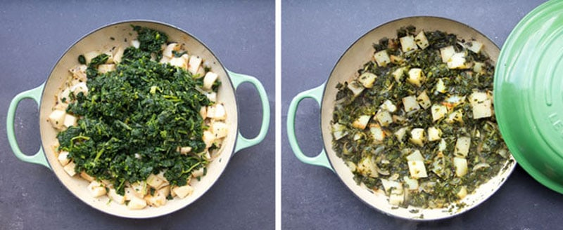 chopped blanched spinach on top of cubed potatoes, in a skillet, next shot shows the finished saag aloo dish with cooked spinach and potatoes