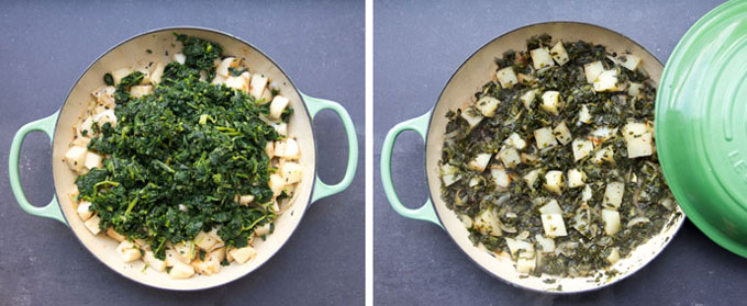 how to cook saag aloo, Indian potatoes and spinach