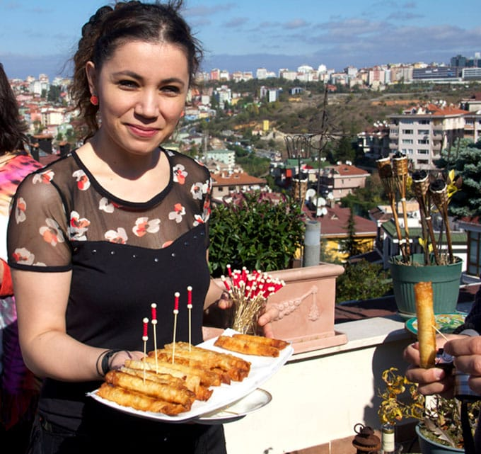"""Sigara Borek: Crisp phyllo """"cigars"""" filled with feta and scallions - a delicious Turkish appetizer recipe"""