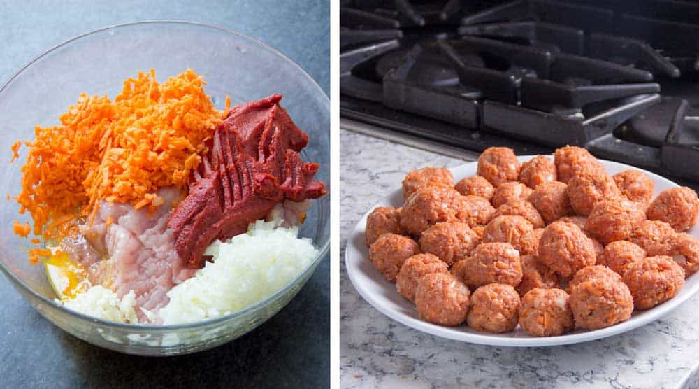 how to make turkey meatballs, a bowl of raw turkey, tomato paste, grated sweet potato, chopped onion, minced garlic and eggs, then a plate of rolled uncooked meatballs