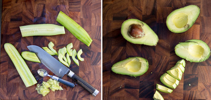 How to remove seeds from a cucumber and slice it into moons and how to slice avocados