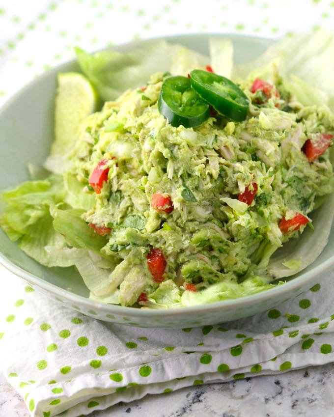 If you love chicken salad, you're going to go crazy for this one. My Venezuelan friend Sonia shared her recipe with me. Shredded chicken is mixed with avocado, lime juice, jalapeño, white onion, garlic and cilantro. There's no mayonnaise or dairy so it's super healthy, paleo, dairy-free, and bursting with vibrant Latin flavors.