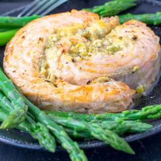 Broiled Salmon Roulades Stuffed with Horseradish Mustard